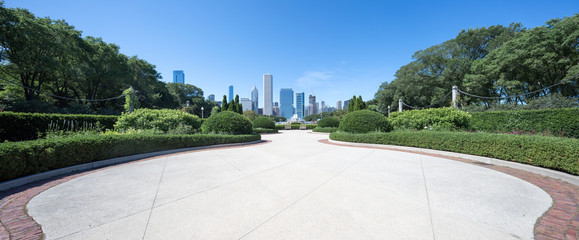 Fototapete - empty ground with modern cityscape in chicago