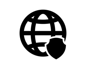 black computer shield earth secure protect image vector icon logo symbol