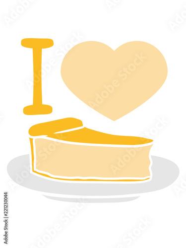 Herz I Love Liebe Pause Kuchen Kasekuchen Schnittchen Teller Lecker