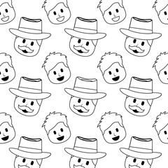 smiling happy faces man with hat and mustache background