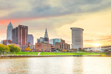 Wall Mural - View of downtown Cleveland skyline in Ohio USA