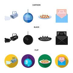 A video camera with smoke, a twirling holiday ball, a plate of sandwiches, an envelope with a greeting card. Event services set collection icons in cartoon,black,flat style vector symbol stock