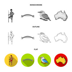 Aborigine with a spear, Sydney Harbor Bridge, kookabarra on a branch, the territory of the country.Australia set collection icons in flat,outline,monochrome style vector symbol stock illustration web.