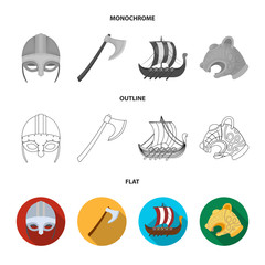 Viking helmet, battle ax, rook on oars with shields, dragon, treasure. Vikings set collection icons in flat,outline,monochrome style vector symbol stock illustration web.