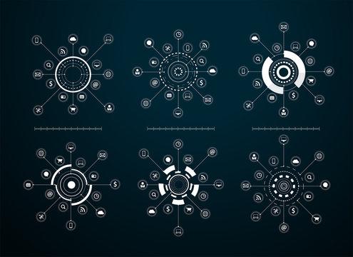 Vector virtual icons network diagram Sci fi futuristic user interface
