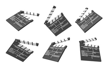 3d rendering of six black movie clapperboards with empty lines for the title and the creators of a movie.
