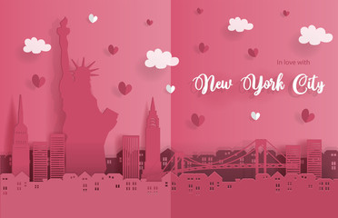Travel postcard and poster of New York City in paper origami style. Love and honeymoon trip concept. Vector illustration.