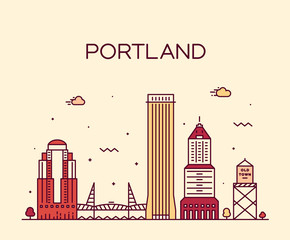 Wall Mural - Portland Oregon USA vector linear art style city