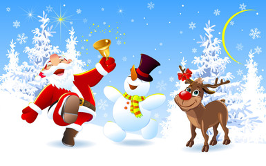 Happy Santa, deer and snowman. Santa Claus, deer Rudolph and snowman in the winter forest