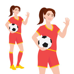 Friendly cheerful smiling soccer player girl standing holding soccer ball in her hand and waving. Illustration on white backround