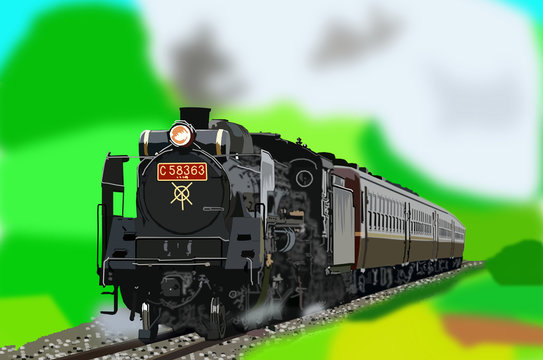 蒸気機関車 イラスト