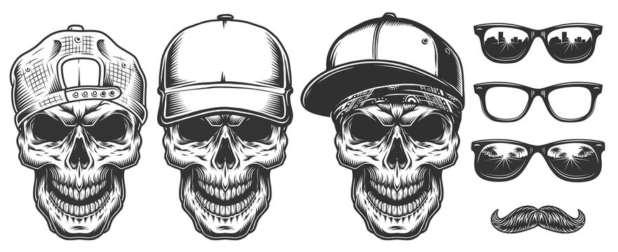 Set of skull in cap