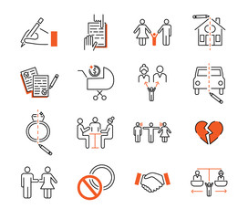 Divorce mediation outline icon collection vector illustration set.