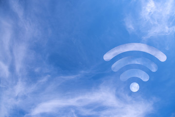 Clouds in the shape of a WiFi symbol on a sky background