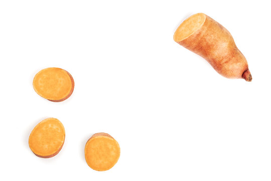An overhead photo of slices of a sweet potato, forming a frame on white with copy space