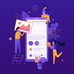 Team of developers construct mobile app. UI UX design. Flat vector illustration.