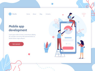 Team of developers construct mobile app. UI UX design. Flat vector illustration.