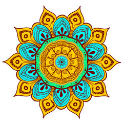 Mandala Vector Design Element. Round ornament decoration. Colorful flower pattern. Stylized floral motif. Complex flourish weave medallion. Tattoo print