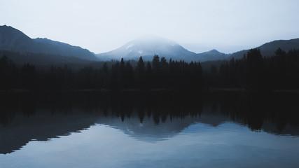 Reflection of Lassen Peak and Forests on Manzanita Lake, Lassen Volcanic National Park, California