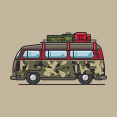 Retro van in camouflage with army supplies on top of the roof