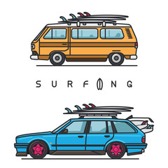 Van and wagon cars with surfboards on the top of the roof