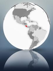 Costa Rica on political globe