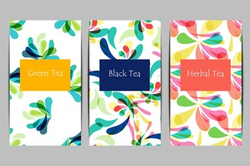 Abstract tea package set in flat style