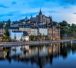 Scenic Stockholm City Old Town Sunset Skyline. Panoramic merge from 8 images