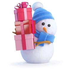 Vector 3d Snowman bearing gifts