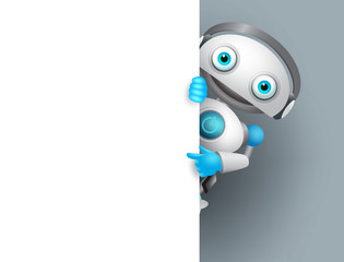 White robot vector character holding empty white board for presentation. Cyborg mascot pointing white blank space for text, vector illustration.  - fototapety na wymiar