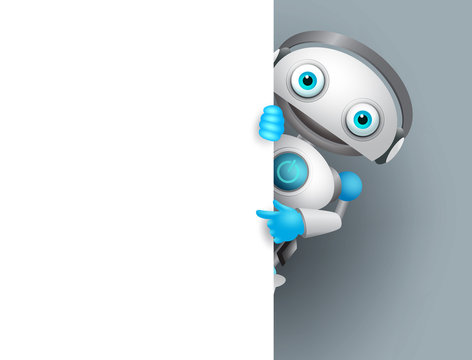 White robot vector character holding empty white board for presentation. Cyborg mascot pointing white blank space for text, vector illustration.