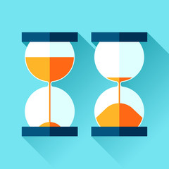 Hourglass icons set in flat style, sandglass on color background. Vector design elements for you project