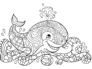Antistress coloring whale on the waves. Scribbles, black lines, pattern, white background. Big fish in water raster