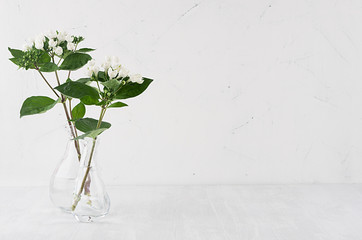 Gentle minimalist bouquet in exquisite transparent vase with white small flowers and green leaves on white shelf, simple home decor.