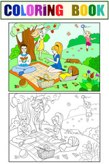 Picnic in nature coloring book for children cartoon raster. Color, Black and white