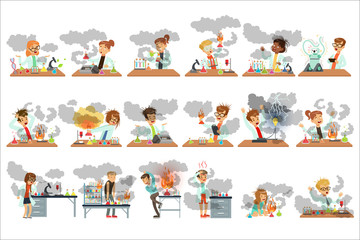 Kid chemists characters posing in different situations looking dirty after failed chemical experiments set of vector Illustrations