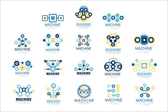 Learning machine label original design set of vector Illustrations