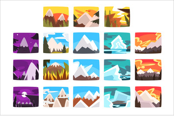 Beautiful mountain landscapes set in different times of day