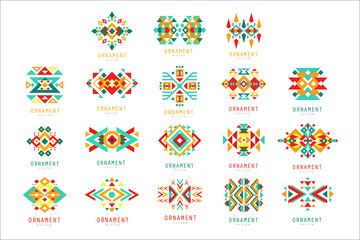 Colorful geometric ornament set, abstract logo elements vector Illustrations