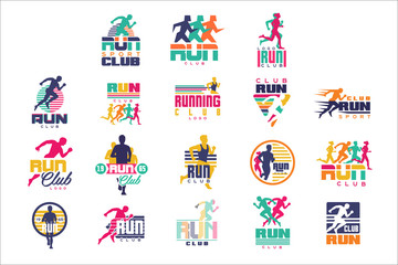 Run sport club logo templates set, emblems for sport organizations, tournaments and marathons colorful vector Illustrations