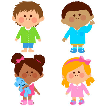 Diverse group of girls and boys in their pajamas.