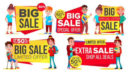 Big Sale Banner Set Vector. School Children, Pupil. Kids School Shopping. Half Price Colorful Stickers. Mega Sale Poster Design. Discount And Promotion. Isolated Illustration