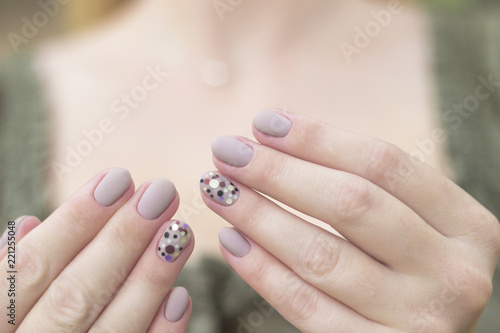 Manicure Nails Nail Art Design Gel Nail Polish On Two Hands Gray