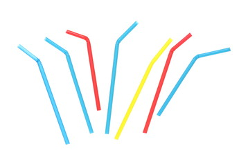 Colorful drinking straws isolated on white background with clipping path, top view