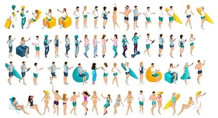 Isometrics is a large set of teenagers in summer clothes and bathing suits, the men's men at any choice