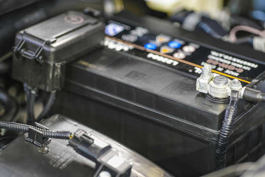 Car electric battery close up