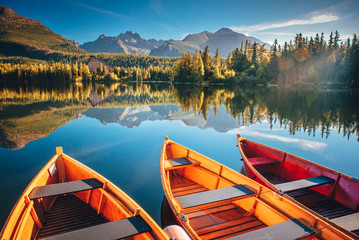 Sailing boat. Mountain landscape. Mountain lake. Outdoor recreation. Strbske pleso, Slovakia