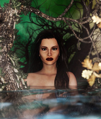Woman in the water,3d Mixed media for book illustration or book cover