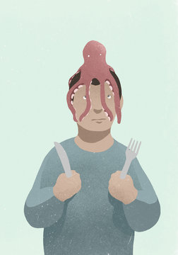 Man with fork and knife looking up at octopus on head