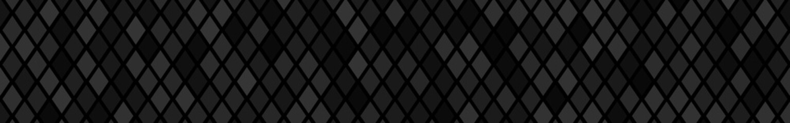 Abstract horizontal banner or background of small rhombuses in black colors.